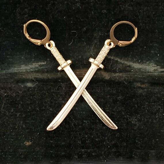 Long Gold Sword Earrings, Gold Dagger Earrings, Sword Jewelry, Gold Sword, Long Gold Cross Earrings, Gold Statement Earrings, Gold Leverback