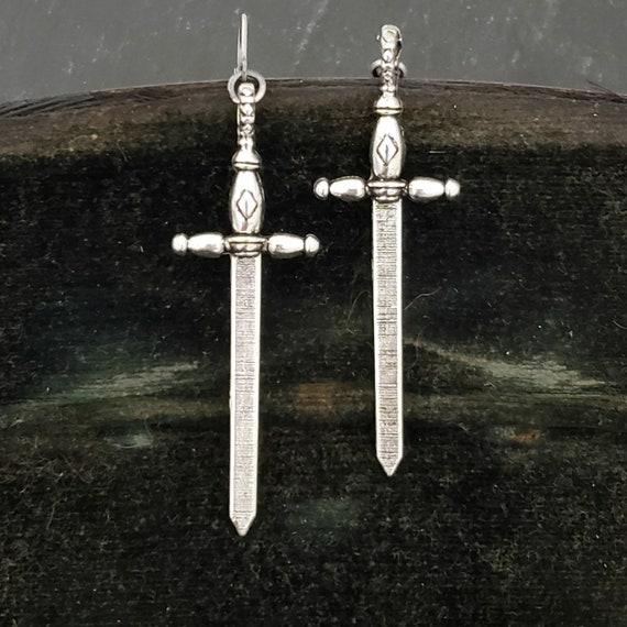 Big Silver Sword Earrings, Large Dagger, Big Dagger, Silver Dagger, Large Sword, Big Sword Earrings, Silver Medieval Sword Earrings