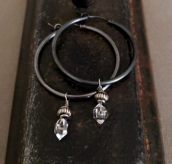 STERLING SILVER Black Hoop Herkimer Diamond Earrings, Black Hoops, Dangle Stone Hoop, Sterling Silver Hoop