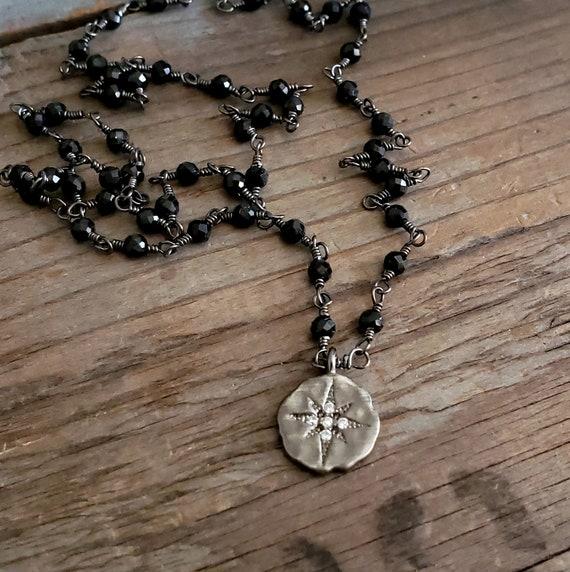 BELIEVE - Short Black Beaded Chain Necklace, Starburst Charm Pendant Bead Chain, Black Bead Gemstone, Beaded Black, Dainty, Feminine
