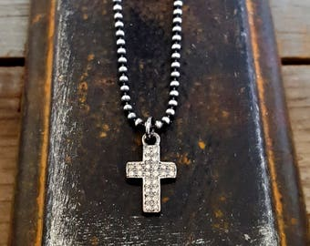 FAITH.  Diamond Cross Necklace, Sterling Silver Cross Charm, Pave Diamond Cross Pendant Charm, Goth, Rock and Roll, Sterling Bead Chain