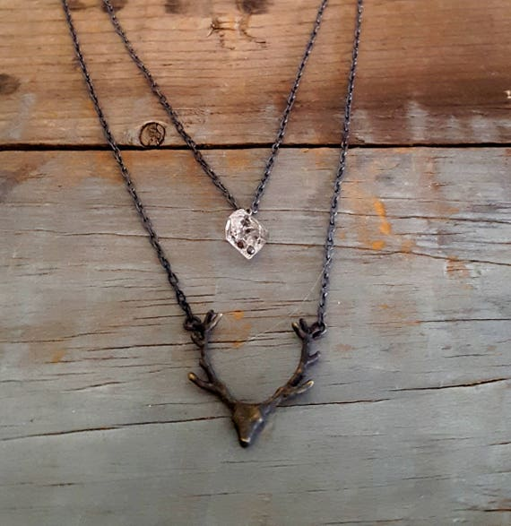 Deer Antler Necklace, Herkimer Diamond Necklace, Black Deer Head Antler, Animal Head, Black Chain, Animal Pendant, Black Chain