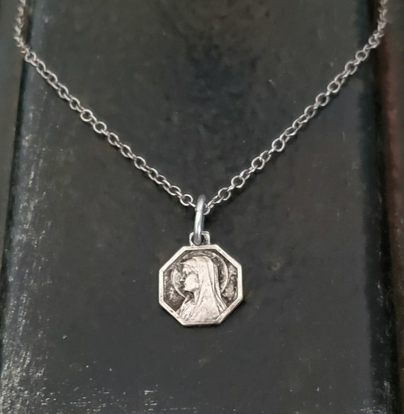 Tiny Antique French Mary Charm Necklace, STERLING SILVER Vintage Religious Charm Hexagon, Antique Silver, Vintage Small Charm