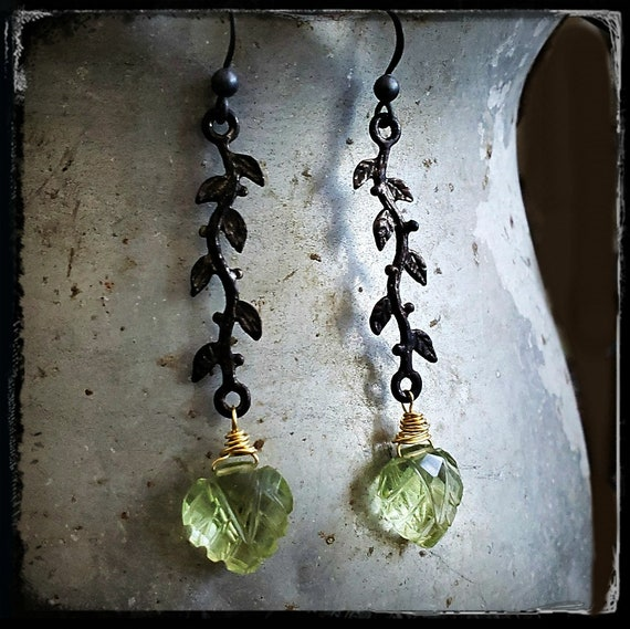 Prehnite Vine Earrings, Light Green Stone Earrings, Carved Stone, Leaf Earrings, Nature, Nature Inspired, Black Oxidized Gold Green Gemstone