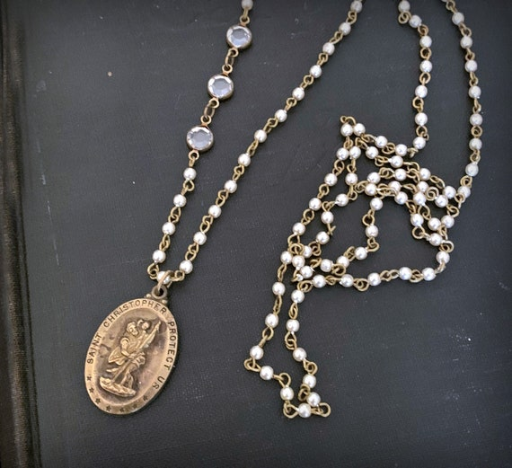 Vintage St Christopher Religious Medal Necklace, Long Pearl Vintage Pendant, Pearl Bead Crystal, Saint Medal, Long Beaded Necklace, ViaLove