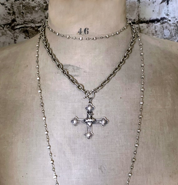 Big Silver Cross Heart Fire Pendant Chunky Statement Necklace