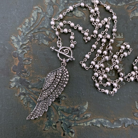 Silver STERLING SILVER Angel Wing Toggle Clasp Necklace