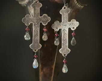 Large Cross Labradorite Earrings, .925 SOLID STERLING SILVER, Long Cross Statement Earrings, Vintage Inspired, Fleur de Lis Cross, ViaLove