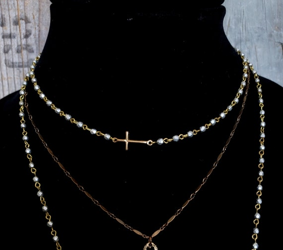 Gold Cross LOVE Necklace, Sideways Cross, Solid BRONZE Cross, Pearl Cross Silver Bead, Tiny Bead, Bead Necklace, Solid Bronze Jewelry