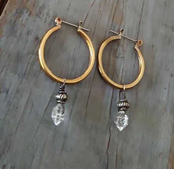 Small Gold Hoop Herkimer Diamond Earrings, Small Brass Hoops, Dangle Stone Hoops, Vintage Brass Hoop Gemstone Earrings, Gold Brass Hoops