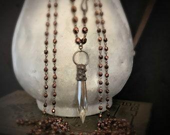VINTAGE Crystal Pendant Copper Bead Necklace, Long Beaded, Antique Copper, Chandelier Crystal, Crystal Spike, Dagger Crystal Spike, ViaLove