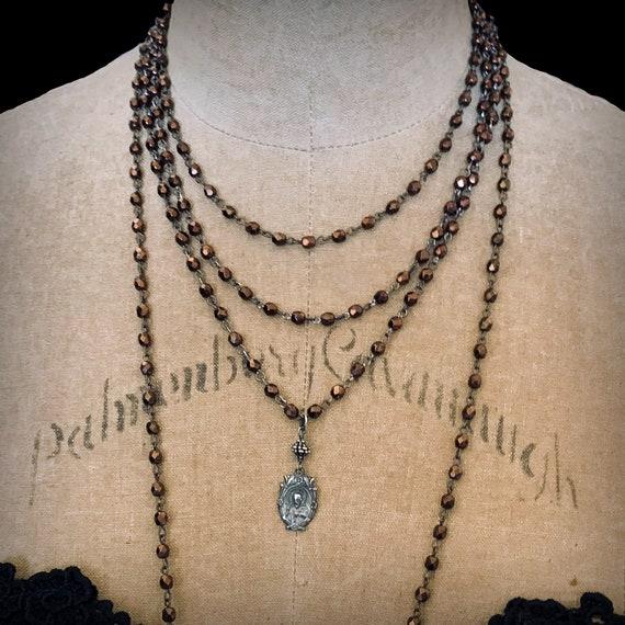 Long Beaded Copper Crystal Sacred Heart Jesus Vintage Medal Necklace