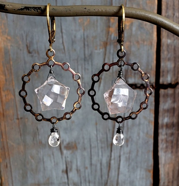 CIRCLE of LIGHT Earrings, Dangle Stone Hoop, Rustic Gemstone Jewelry, Sparkly Gemstone, Rustic Earrings, Oxidized Vintage Brass