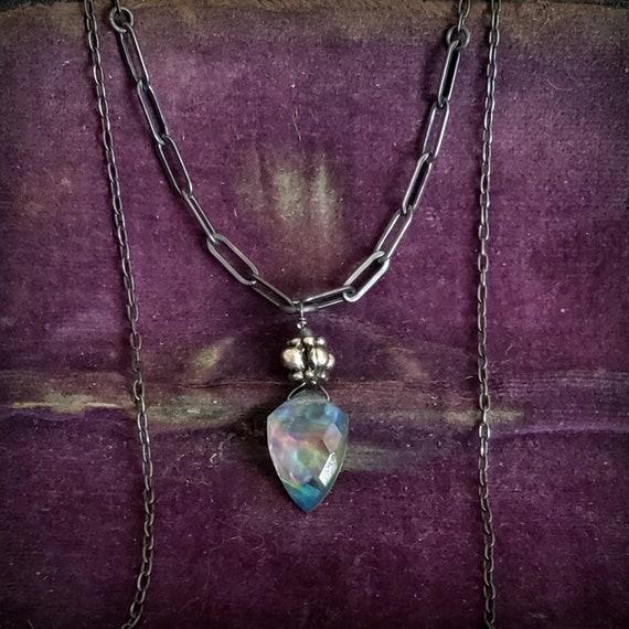 Mystic Raindrop Necklace, Black Oxidized STERLING SILVER Chain Stone Necklace, Ammolite Stone, Rainbow Quartz Stone, Unique Colorful