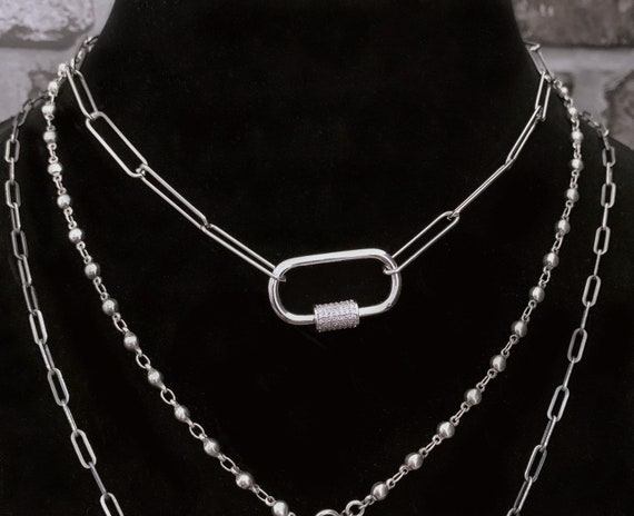 Silver Carabiner Paperclip Chain Oval Screw Clasp Necklace