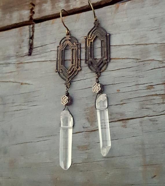 Window Pane Crystal Earrings, Raw Crystal Long Dangle Earrings, Art Deco, Vintage Inspired Jewelry, Rustic Jewelry, Raw Crystal Jewelry