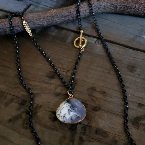 Dentritic Agate Oxidized Long Sterling Silver Chain Necklace, 14K GOLD Filled Black Chain, Stone Pendant Long Chain, Gemstone Pendant