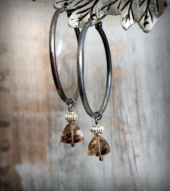 Black Hoop Dangle Earrings, Smoky Quartz Sterling Silver Earrings, Dangling Gemstone Hoop Earrings, Neutral Color, Earthy Color