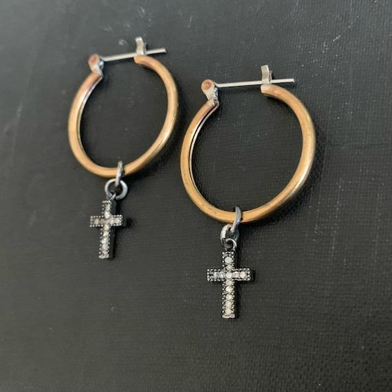 Tiny Pavé Diamond Cross Brass Hoop Earrings