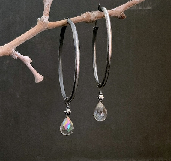 Large Black Sterling Silver Hoop Rainbow Oxidized Gemstone Earrings