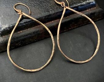 Artisan Solid Gold BRONZE Large Earrings, Large Gold Earrings, Statement Earrings, Large Teardrop, Hammered Gold, Oval Hoop, ViaLove