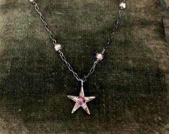 Tiny RUBY Star Necklace, Pave Diamond Star Charm, Tiny Star, Delicate Stone, Ruby Stone, Ruby Jewelry, Star Pendant, Pink Stone, VIALOVE
