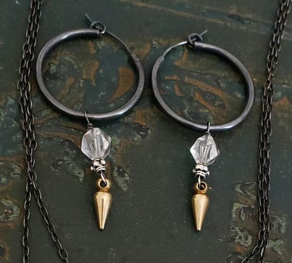 Medium STERLING SILVER Hoop Earrings, Black and Gold Hoop, Crystal Ball, Gold Spike, Rocker Rock n Roll Style, Crystal Quartz, Dangle Stone