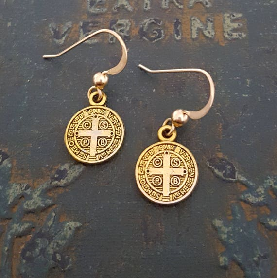 Small Gold Earrings, St Benedict Earrings, Gold Coin Earrings, Dainty Gold Earrings, Antique Gold Coin, Simple Gold, Saint Benedict
