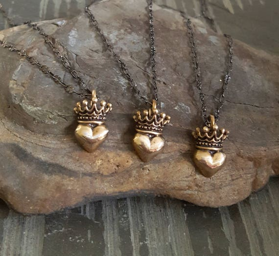 Gold Heart Necklace, Vintage Style, Gold Crown, Crown Heart, Black Chain, Oxidized STERLING SILVER Chain, Gold Pendant Necklace