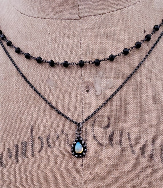 DIAMOND and Opal Pendant Necklace, Opal October Birthstone, Opal Necklace, Opal Jewelry, Beaded Choker Chain, Black Chain Opal Diamond