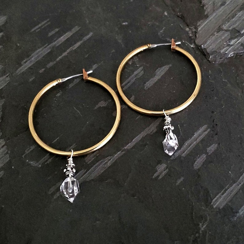 Raw Crystal Gold Hoops Herkimer Diamond and Gold Filled Earrings Herkimer Hoop Earrings Gold Filled Crystal Hoop Earrings