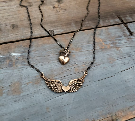 Wings Of Love Necklace, Heart with Wings Necklace, Gold Pendant Black Chain, Oxidized Silver, Antique Gold, Genuine Bronze Pendant