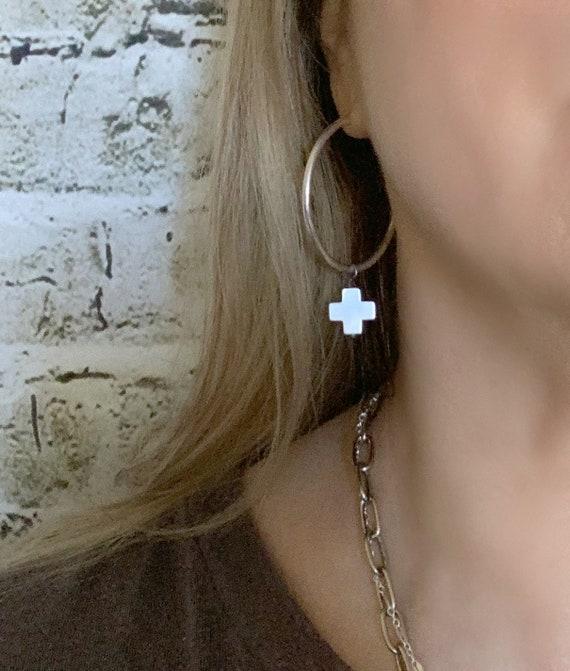 Plus Cross Hoop Earrings, Dangle Hoop Cross, Dangling Stone Hoop, Sterling Silver Hoop, Medium Hoop, Silver Cross, Modern Cross