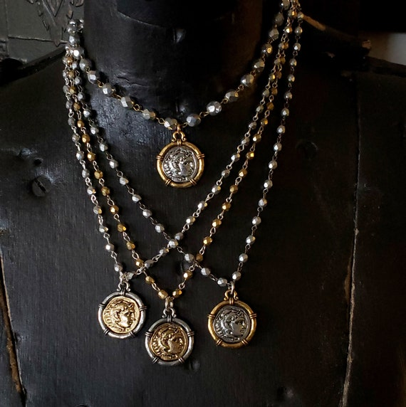 Coin Necklace, Roman Coin, Greek Coin, Coin Jewelry, Medallion Necklace, Gold Pendant, Medal Necklace, Silver and Gold