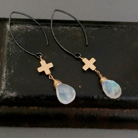 Rainbow Moonstone Earrings, Moonstone Sterling Silver Gold Earrings, Gold Cross Stone Earrings, Oval Earring Hook, Moonstone Jewelry