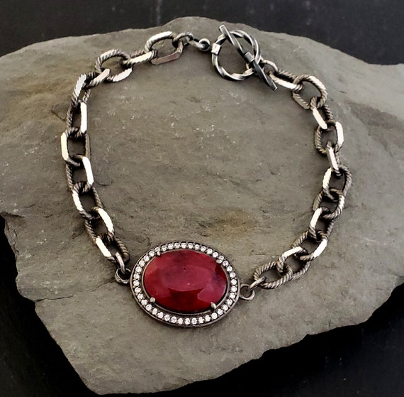 RUBY Stone SOLID STERLING Silver Chain Bracelet, Chunky Stone Chain Bracelet, Toggle Clasp, Ruby Jewelry, Oxidized Silver Dark Red Stone