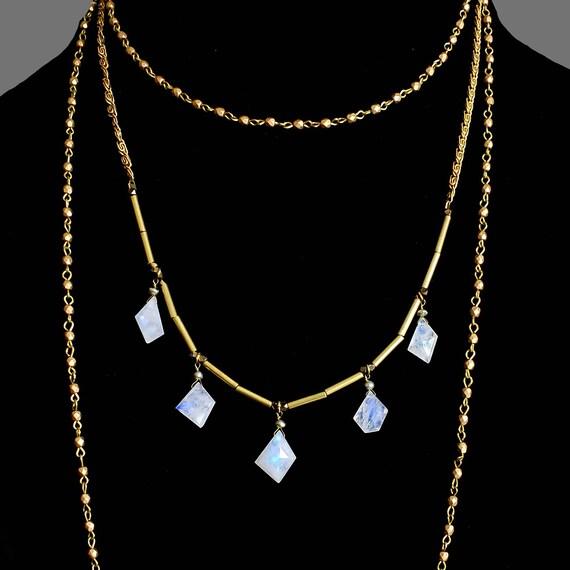 Vintage Art Deco Rainbow Moonstone Geometric Necklace, Multi Strand Gold Bead Necklace