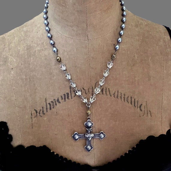 Sacred Heart Cross Necklace, Crystal Rosary, Rosary Bead, Big Cross, Pearl and Cross, Religious Necklace, Religious Jewelry, Silver Cross