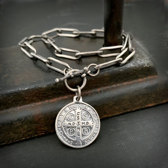 Solid STERLING SILVER Oval Chain St Benedict Pendant Necklace