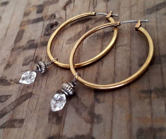 Gold Hoop Earrings, Raw Brass Hoop Earrings, HERKIMER DIAMOND Hoop Earrings, Medium Gold Hoop Brass Earrings, Stone Hoop Earrings