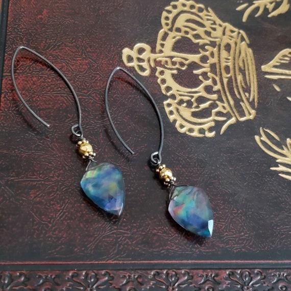 Mystic Rainbow Blue Quartz Long Dangle Gemstone Earrings, Oxidized Sterling Silver, Shield Stone Earrings, Gold Pyrite, Big Long Oval Wire