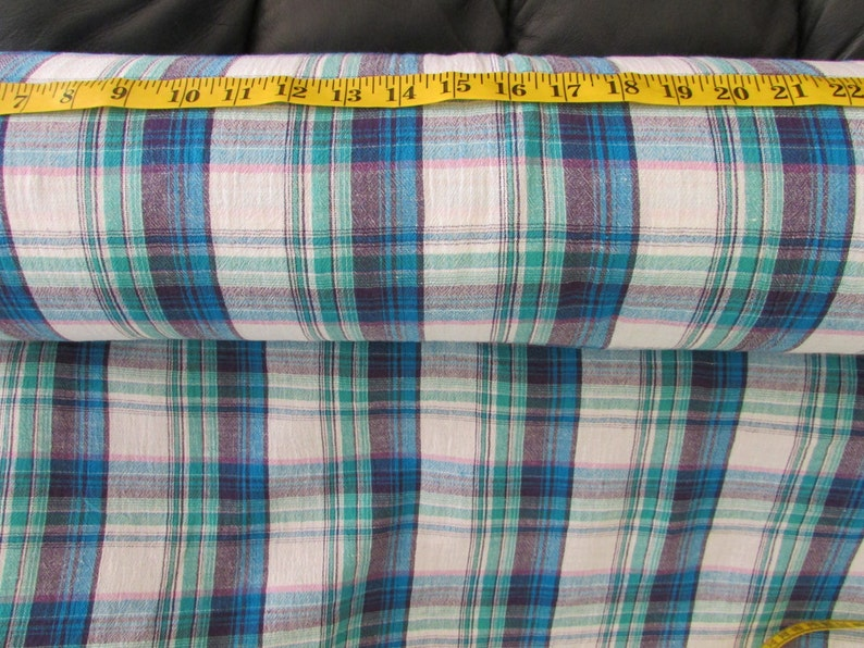 Cotton Gauze Fabric - Blue Plaid, Nautical, Navy, Pink, price per yard,  Lightweight, summer fabric, crafts, skirts, peasant blouse