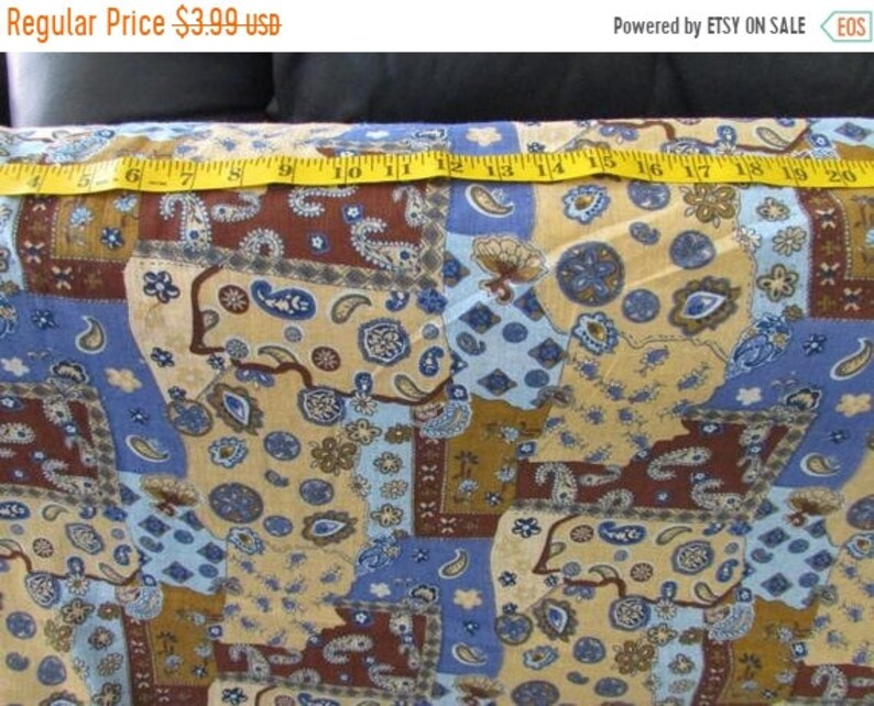 SALE Cotton Gauze Fabric paisley patchwork look French blue image 0