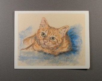 Two Orange Tabby Cats Sitting in a Cat Tree Cat Art Note Cards By Cori Solomon