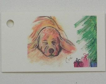 Basset Hound Dog Art Christmas Holiday Gift Tags By Cori Solomon