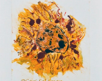 Abstract Sunflower Solar Eclipse Hand Pulled Print Monotype By Cori Solomon