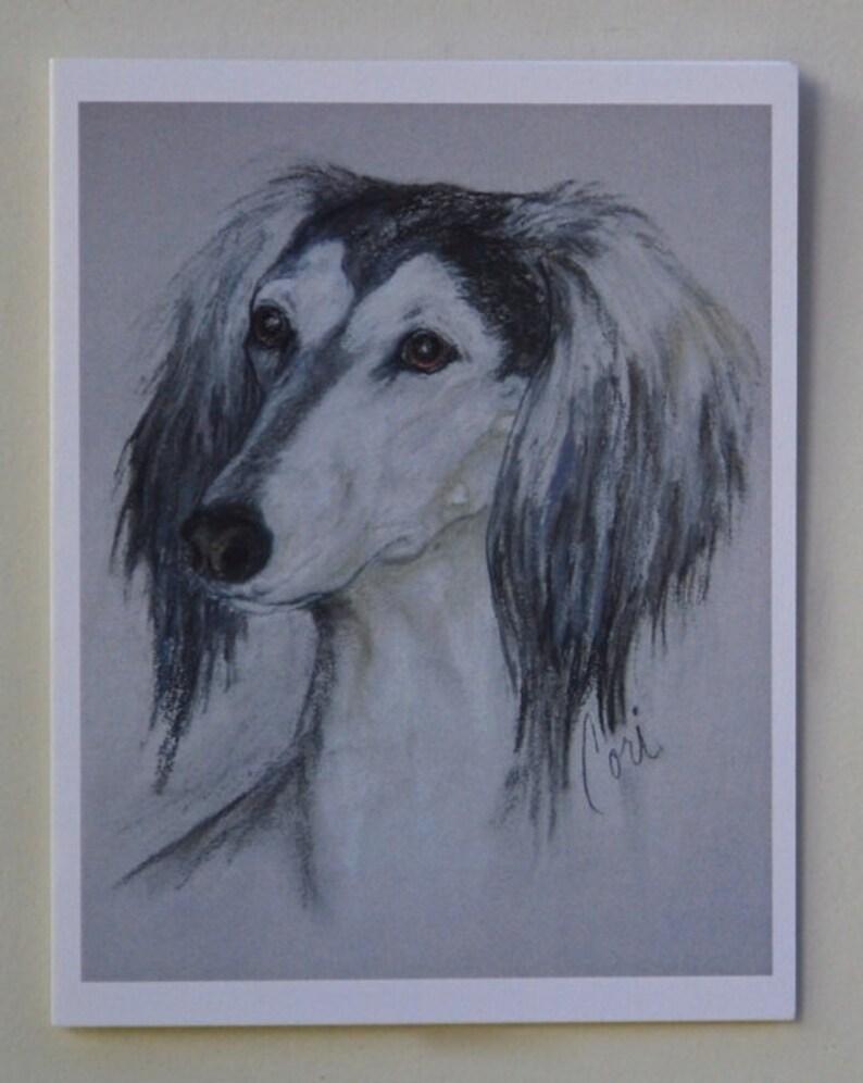 Grizzle Saluki Dog Art Note Cards By Cori Solomon