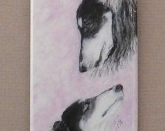 Black Tri Saluki Dog Art Rectangular Magnet by Cori Solomon