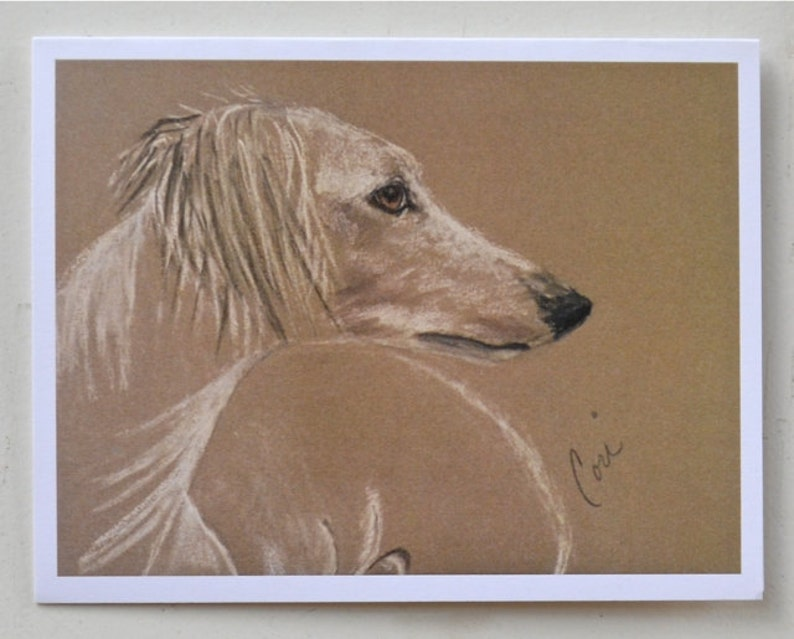 Cream Saluki Hound Dog Art Note Cards By Cori Solomon