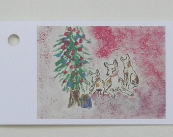 Holiday Hounds Christmas Holiday Sight Hound Dog Art Gift Tags By Cori Solomon